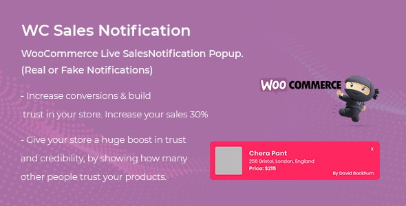 WooCommerce Live Sales Notification Pro v1.0.1 – 即时销售通知