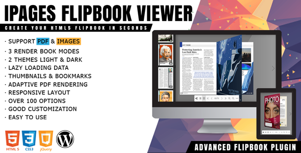 iPages Flipbook For WordPress v1.3.1 – 3D动画翻书插件