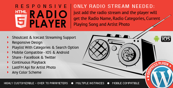 Radio Player Shoutcast & Icecast v3.3.2 – 电台,音乐播放插件