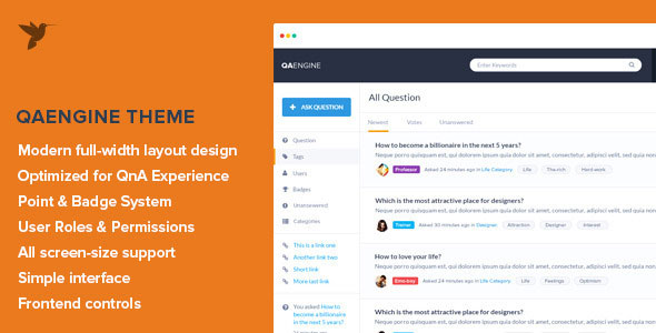 QAEngine v2.0.12 - 问答WordPress主题