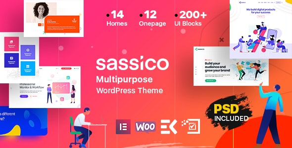 Sassico v1.9 – 多用途/Saas/创业/机构WordPress主题