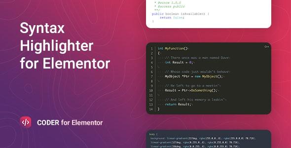 Coder v1.0.0 – Elementor语法高亮插件