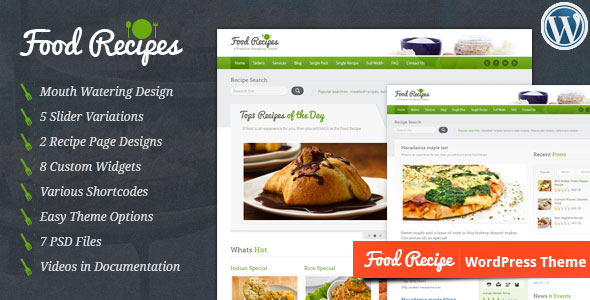 Food Recipes v4.0.3 – 餐饮/蔬果/商店类WordPress主题